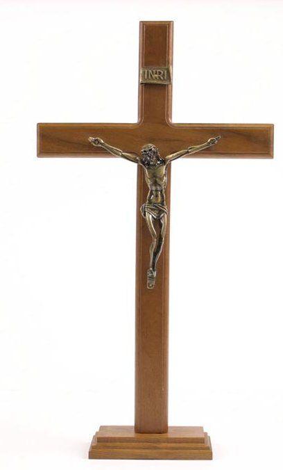 Crucifijo madera 43cms bronce viejo