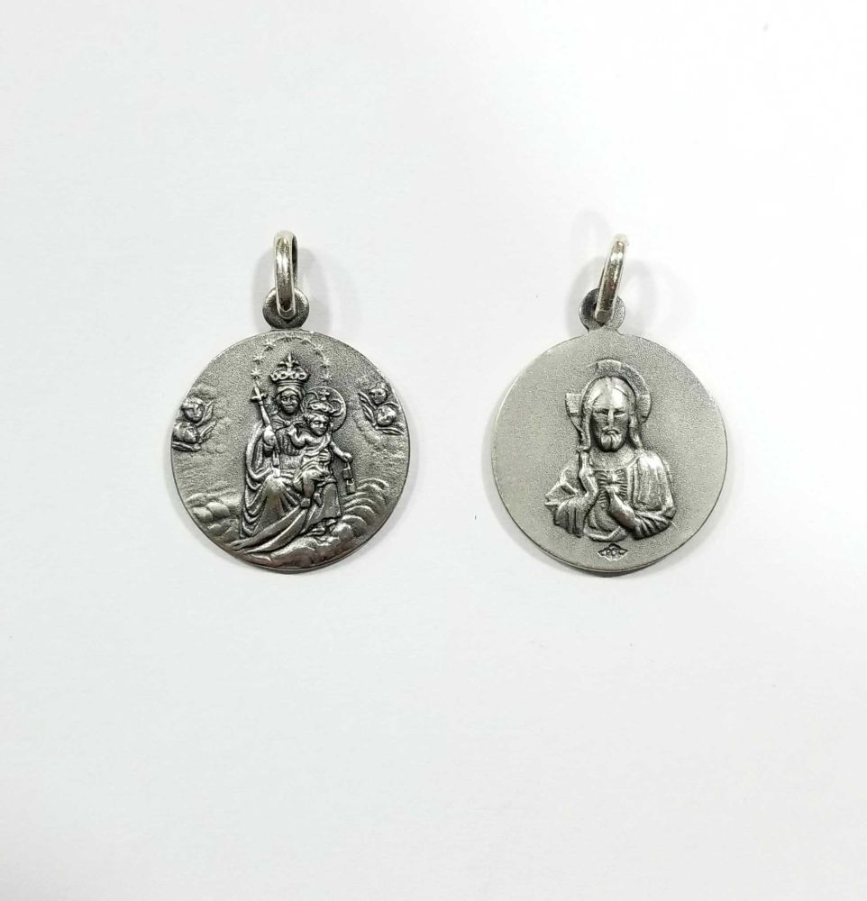 Escapulario de plata Sagrado Corazon y Virgen del Carmen 20mm